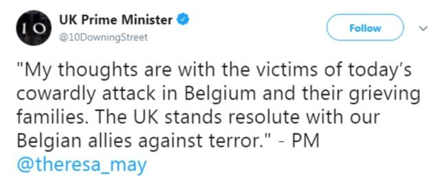 Condolences:British Prime Minister Theresa May expressed her sympathies in a tweet posted on Tuesday afternoon