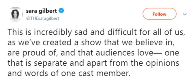 Sara Gilbert, an executive producer of the Roseanne revival who has played Darlene Conner for the entirety of the series, called Barr's tweets 'abhorrent'