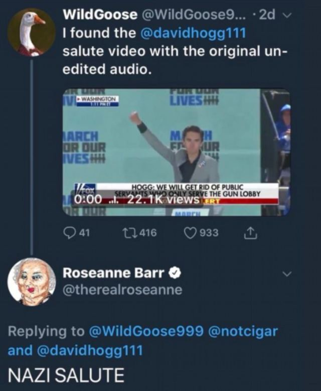 Barr came under fire on the very night the revival of Roseanne premiered in April when she accused Parkland shooting survivor David Hogg of giving a 'Nazi Salute'.