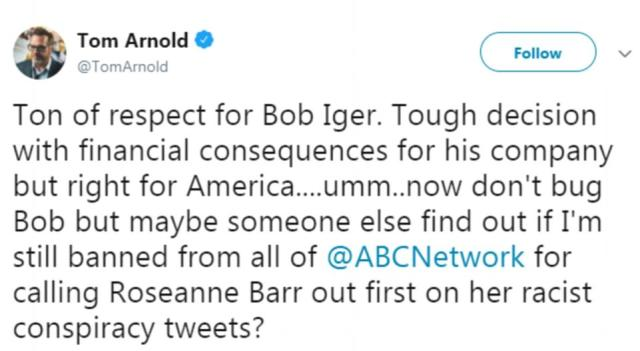 Tom Arnold, who co-starred on the show from 1989 to 1993 and was married to Barr from 1990 to 1994, praised the decision to cancel the show