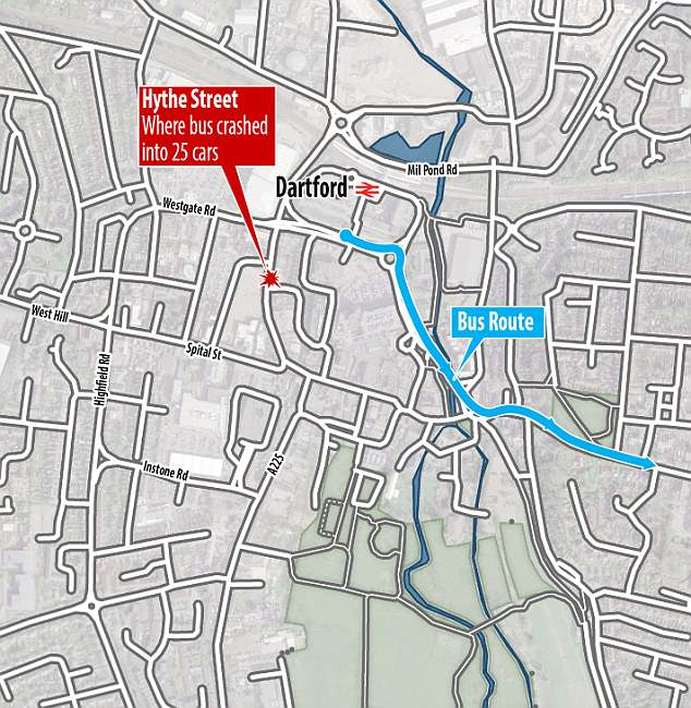 Pictured: Map of where the out-of-control bus smashed into 25 vehicles in Dartford, Kent
