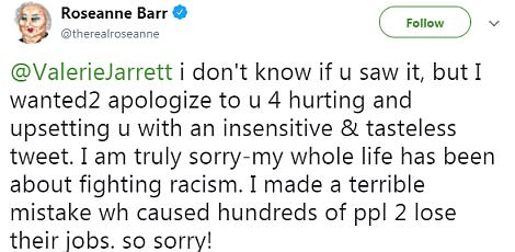 Mea culpa: Roseanne also made a direct plea to Jarrett on Twitter after her tirade