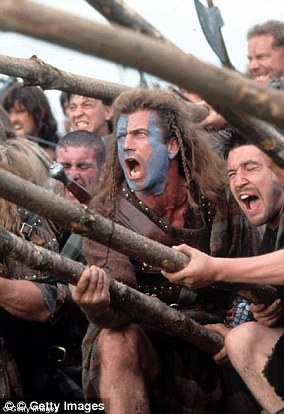 Mel Gibson's blue complexion in Braveheart (picture) is an allusion to the Pictish tradition of body color
