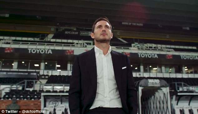 They posted a video of Lampard walking out of the tunnel at Pride Park with #WelcomeFrank