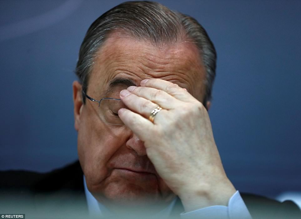 Perez said the decision was 'unexpected' as he looked dejected during the press conference at the Bernabeu on Thursday