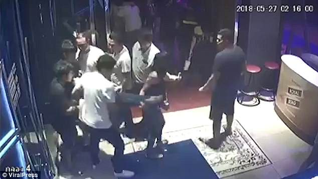 CCTV footage shows four men leading Nong Gift out of the bar in Thailand last Saturday