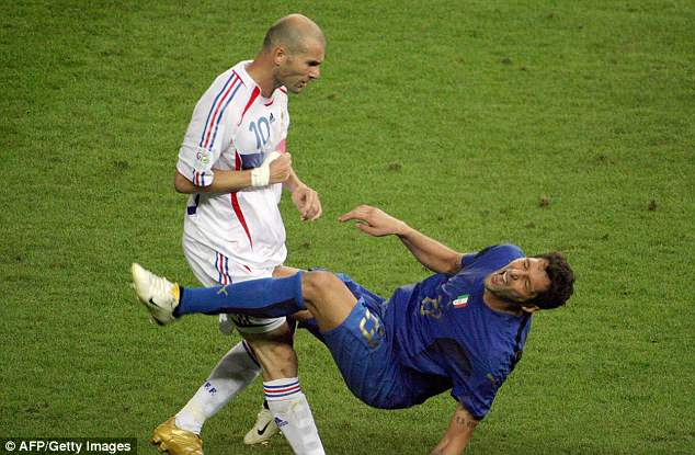 Zinedine Zidane was shown a straight red in 2006 final after headbutting Marco Materazzi