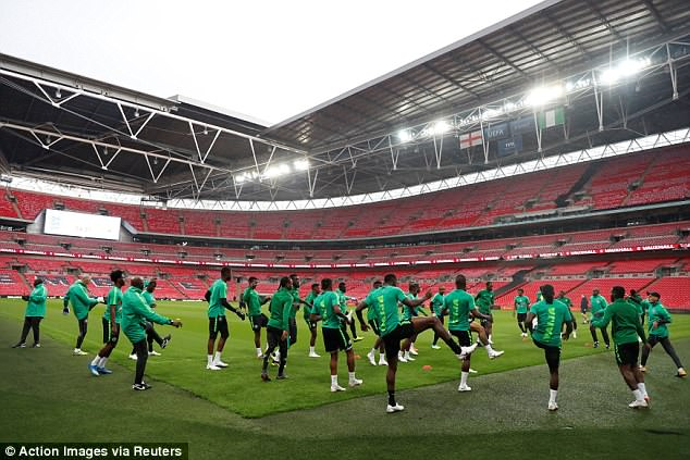 Nigeria train in an empty Wembley Stadium as they gear up for their friendly with England