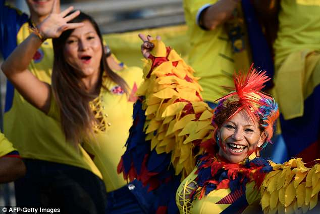 Colombia had plenty of colourful fans as they took on Egypt in Bergamo, Italy