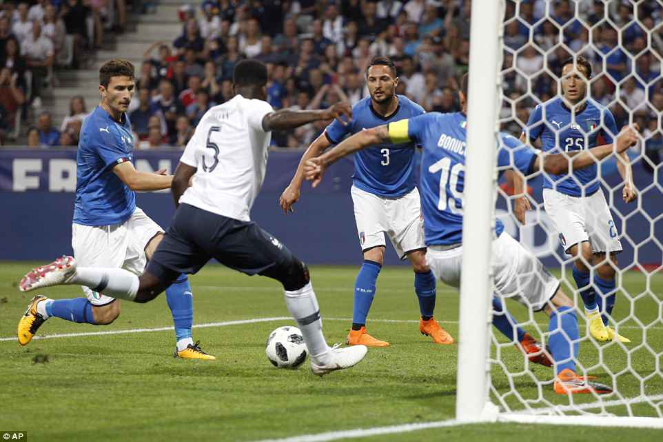 Kylian Mbappe's effort at the back post fell into the path of Umtiti and the Barcelona defender made no mistake