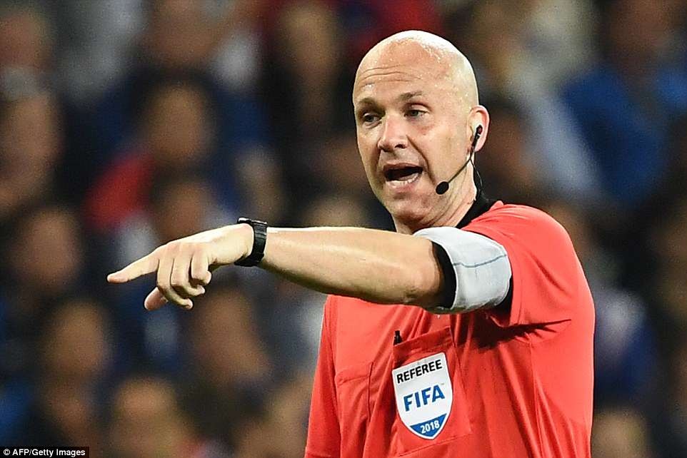 Anthony Taylor pointed to the spot after checking VAR for the penalty decision given to France in the first half