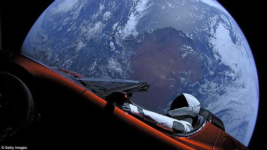 Starman was said to be on a 400-million-kilometer trip into Mars orbit, powered by the main module that parted shortly after Falcon Heavy's launch