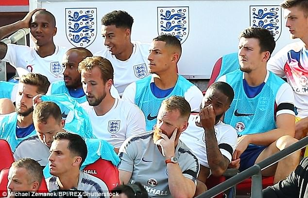 Sterling watched the final stages of the international friendly from the bench at Wembley