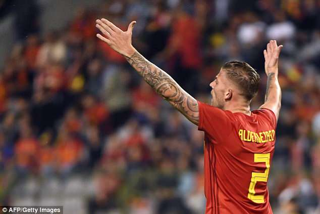 Defender Toby Alderweireld complains as he and his countrymen endure a frustrating evening