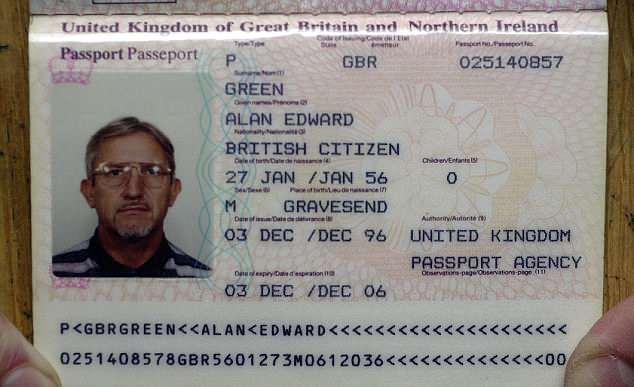 The passport Kenneth Noye was using in Spain under the false name of Alan Green.He was extradited in 1998 before he was found guilty and jailed at the Old Bailey