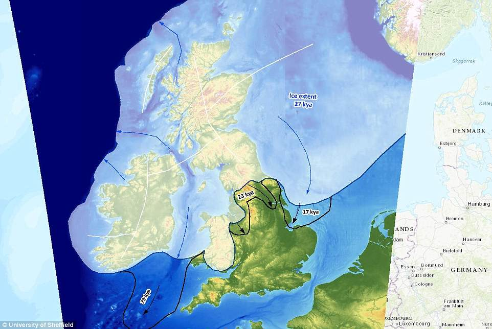 The online map shows where corridors of ice and glacial lakes formed in the United Kingdom 22,000 years ago, when a kilometre-thick ice sheet covered Britain and Ireland. The coverage of the ice sheet is shown in this image by the lighter colouration. The last ice agepeaked about 21,000 years ago and ended about 11,500 years ago