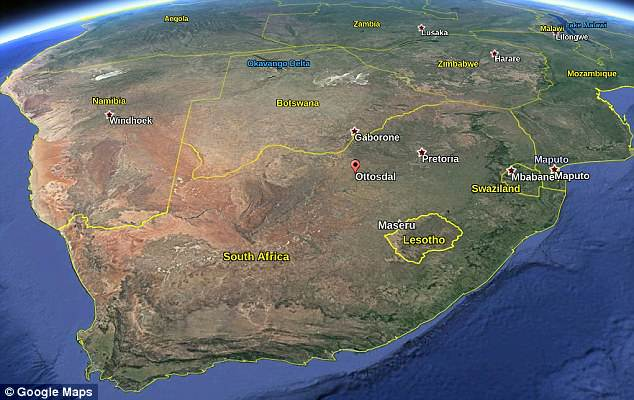 The asteroid crashed down in Ottosdal near the border with Botswana at 6.40pm on Saturday