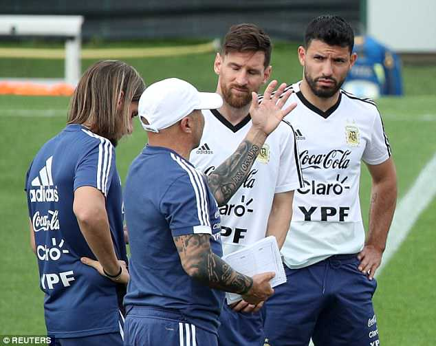 Argentina bossJorge Sampaoli gives orders to Messi and Aguero during training