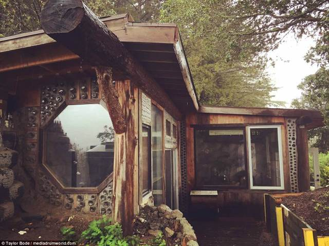 'Car tires became reinforced rammed earth bricks. Bottles became stained glass compositions. Old barn wood was reused for interior finishes,' he said
