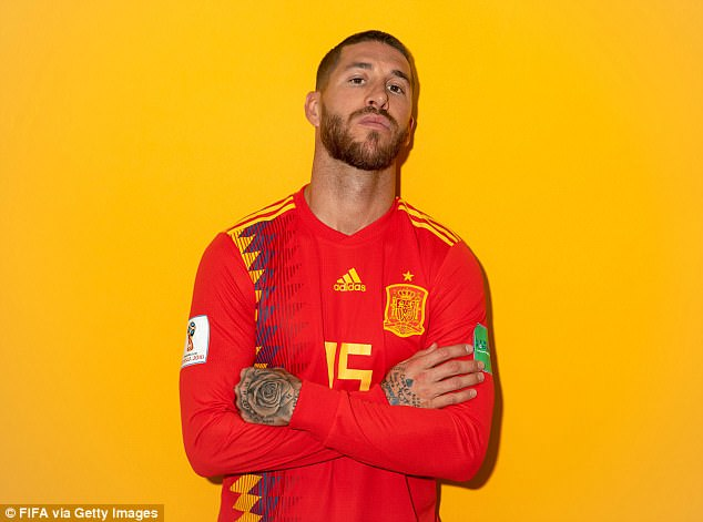 Ramos, 32, looks unfazed by recent criticism as he stands arms-folded inKrasnodar, Russia