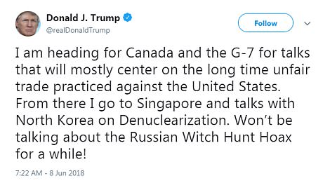 I'm off: Trump's tweet shortly before he boarded Marine One which took aim at both the country's G-7 partners and the Mueller probe