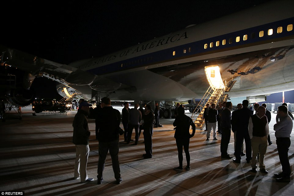 Air Force One stopped over at the US military facility on Crete, giving journalists and staffers a chance to stretch their legs