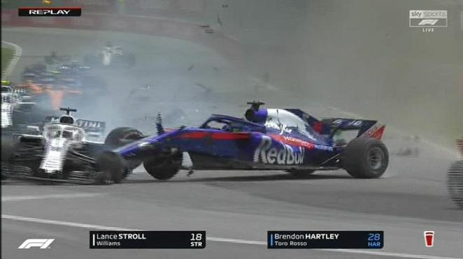 Stroll had to veer off the track while the crumpled car of Hartley soon followed on the opening lap in Canada