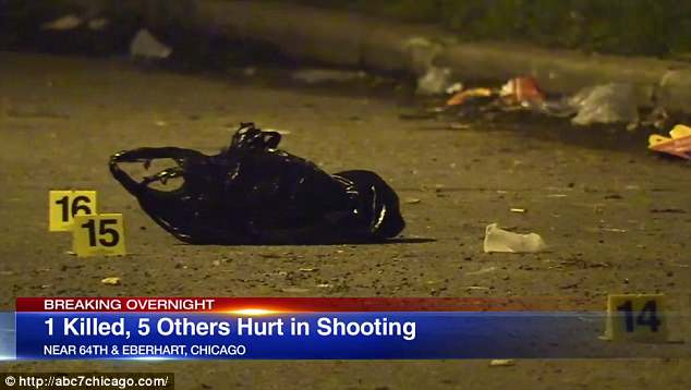 Several shell casings can be seen around Chicago's biggest shooting of early Sunday that left six people shot- one fatally- in the Woodlawn section