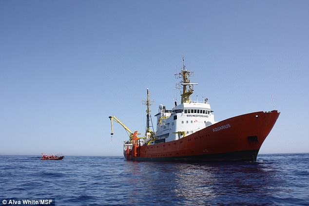 SOS Mediterranee's ship, the Aquarius (pictured), carried 400 people who were picked up by the Italian navy