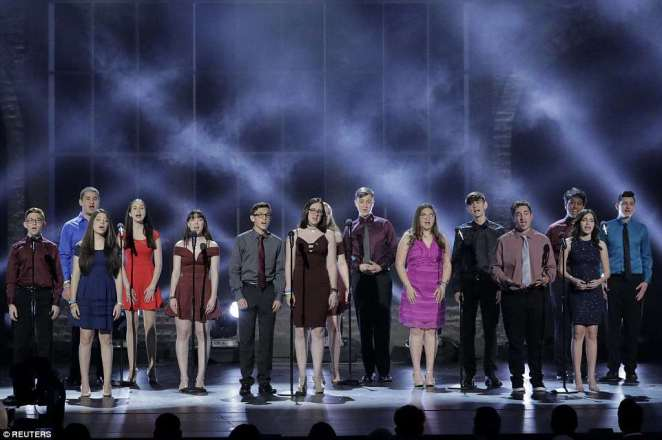 The Drama class from Marjory Stoneman Douglas High School performs at the Tony Awards in New York City on Sunday