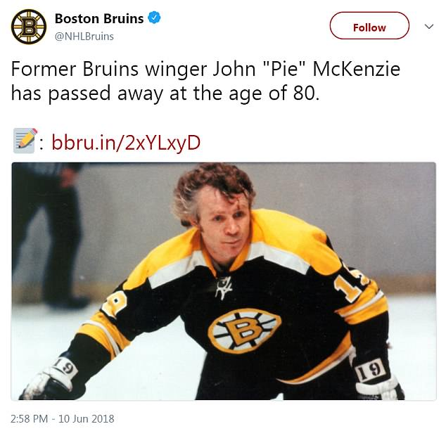 The Boston Bruins shared news Sunday afternoon announcing the passing of former right wing John 'Pie' McKenzie