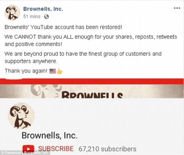 Brownells announced on Monday that its YouTube channel, which boasts 68,000 subscribers, had been restored just 40 hours after it was banned