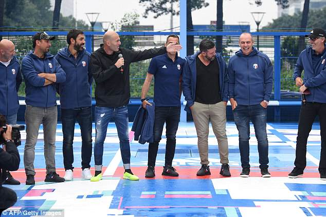 Former Real Madrid manager Zidane was also pictured speaking alongside his old team-mates