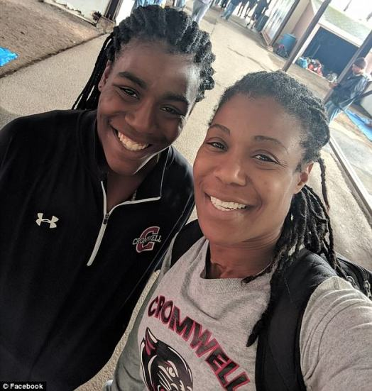Yearwood, pictured on the left with her mother, came in first place in the 100-meter dash during last year's competition