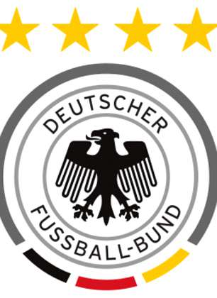 A brash black eagle sits inside Germany's traditional red, yellow and black circle