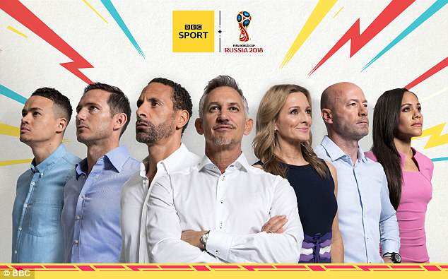 L-R: Jermaine Jenas, Frank Lampard, Rio Ferdinand, Gary Lineker, Gabby Logan, Alan Shearer and Alex Scott make up just some of the presenting team heading to Russia with the BBC