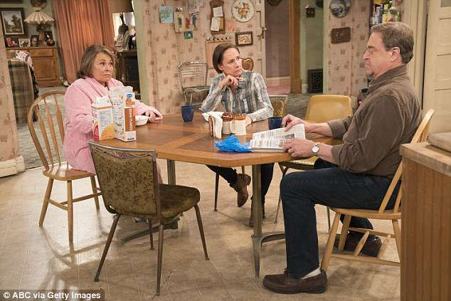 """She racist:'I say, """"Hiiii, Roseanne."""" She looks at me ( gives a disgusted face), and ran in the house. I thought, """"Maybe she don't want to be bothered today,' says Haddish (Barr with laurie Matcalf and John Goodman on the Roseanne set)"""