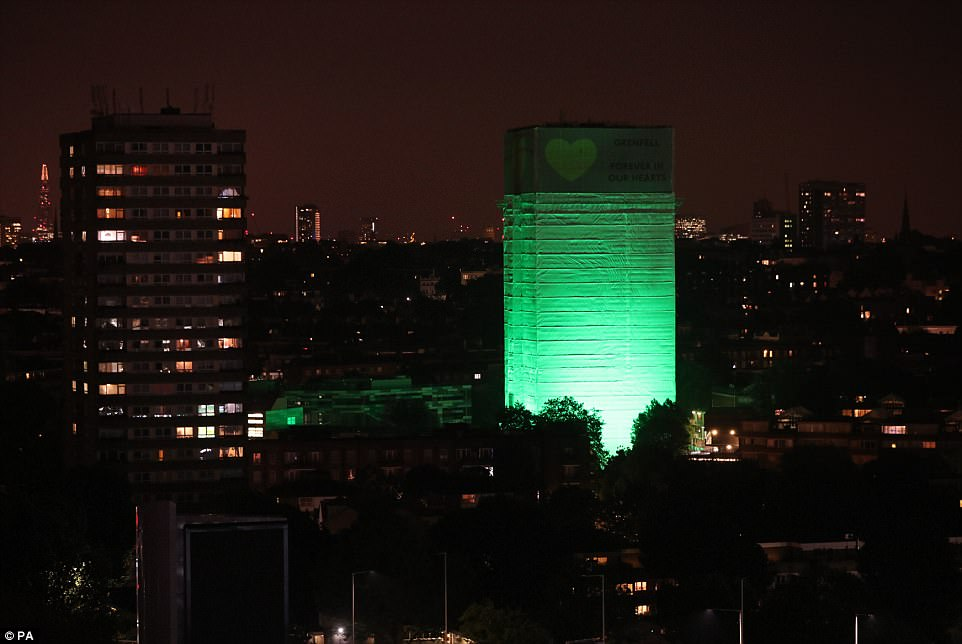 Striking: Grenfell Tower will be illuminated each night for the next four evenings