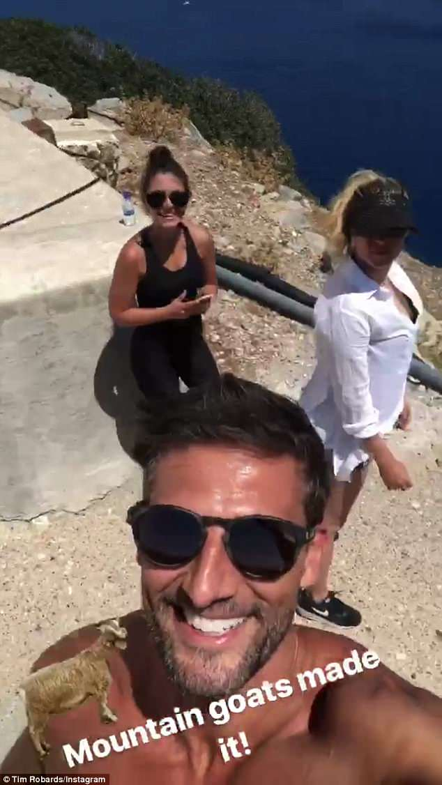 Movin' on up: Chiropractor Tim joked that he was 'burning off some Turkish food' as they navigated the rocky terrain on their mountain walk in Turkey