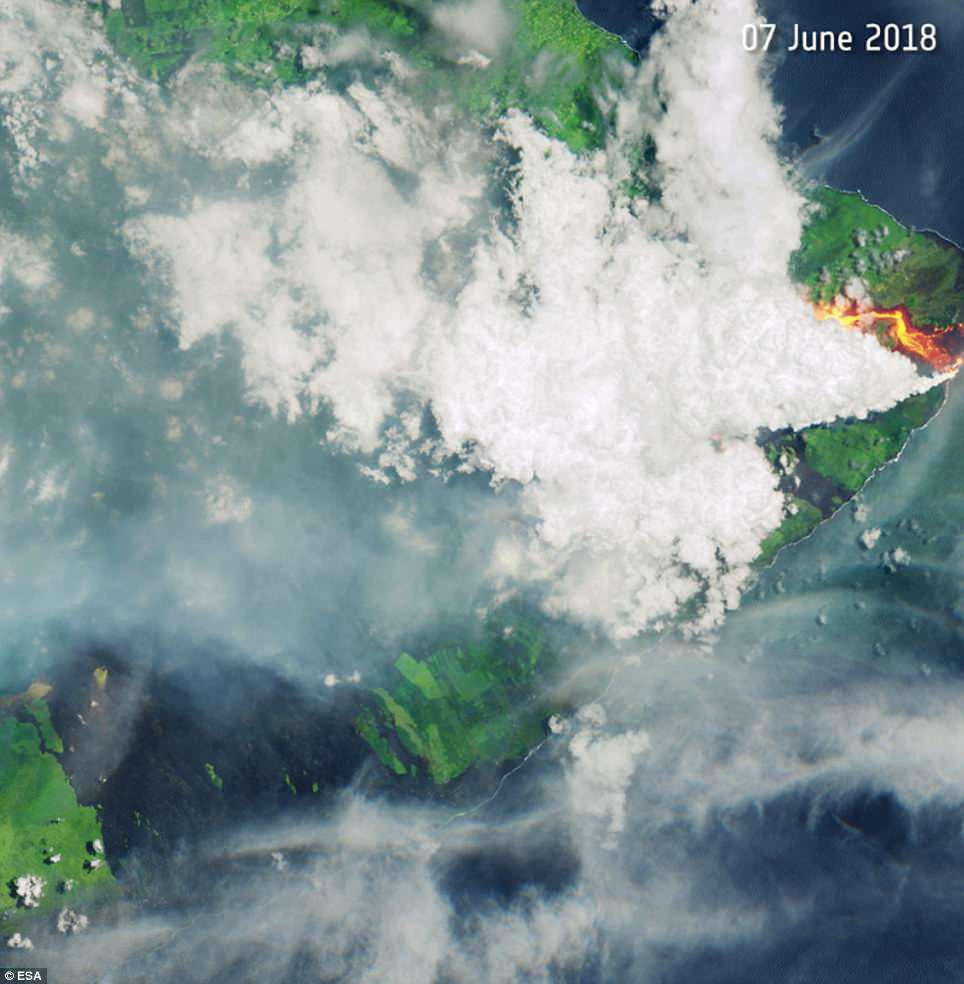 The ESA has released satellite images, taken over the Kilauea volcano on Hawaii¿s Big Island, showing the lava flowing in two different directions, on May 23 and June 7