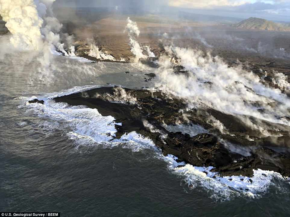New land formed by lava from Kilauea Volcano where the bay and village of Kapoho once stood on the island of Hawaii