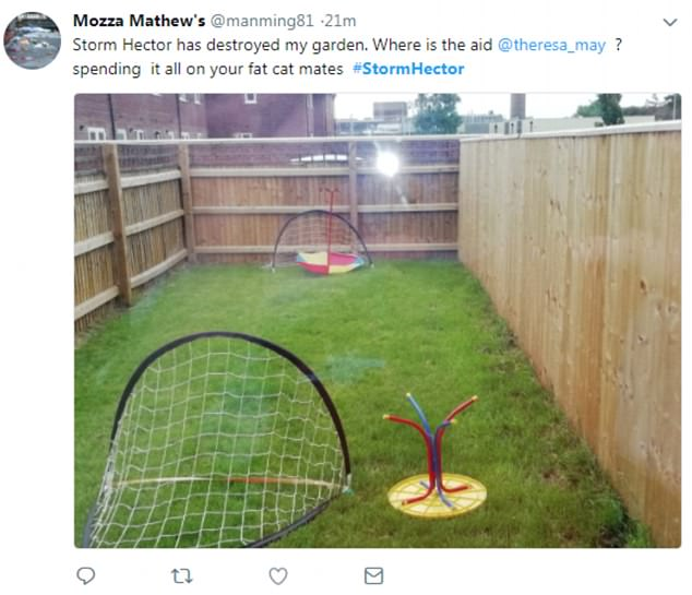 One person used the 'bad' weather to criticise the Government, sharing a picture of their garden with upside down football goals and garden tables