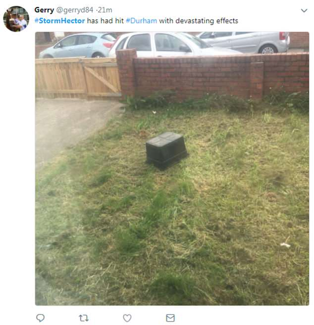 Pictures of upturned garden chairs, trampolines and children's toys have appeared on social media with fittingly sarcastic captions