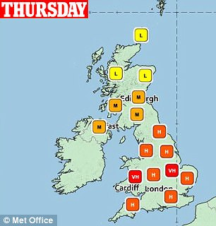 The Met Office's pollen count today shows levels are high in all parts of England and Wales, while they are moderate to low in Scotland and Northern Ireland
