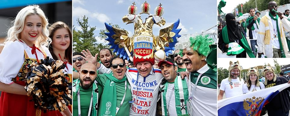 Fans gather in Moscow ahead of World Cup curtain-raiser between Russia and Saudi Arabia