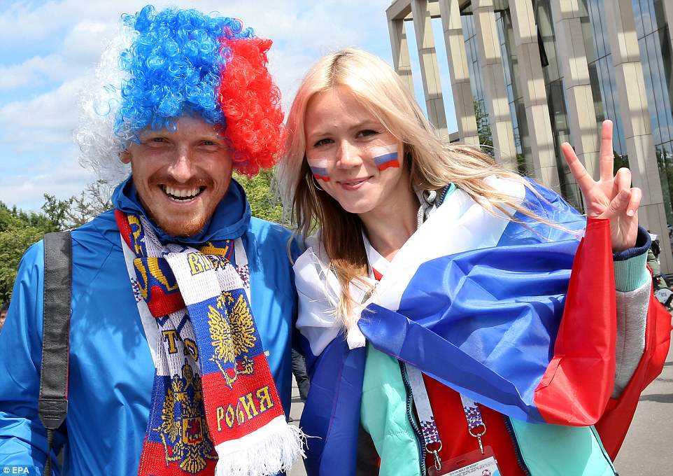 Russian fans dressed up ready for their country's opening game against Saudi Arabia on Thursday afternoon