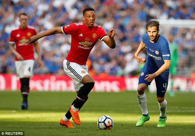 Martial pictured in United colours during their FA Cup final defeat to Chelsea back in May