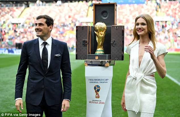 Iker Casillas and Natalia Vodianova present the World Cup on the Luzhniki Stadium pitch