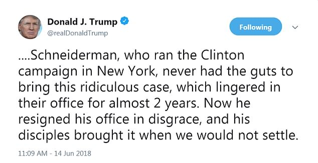 The president was critical of the attorney general's office and of Democrats