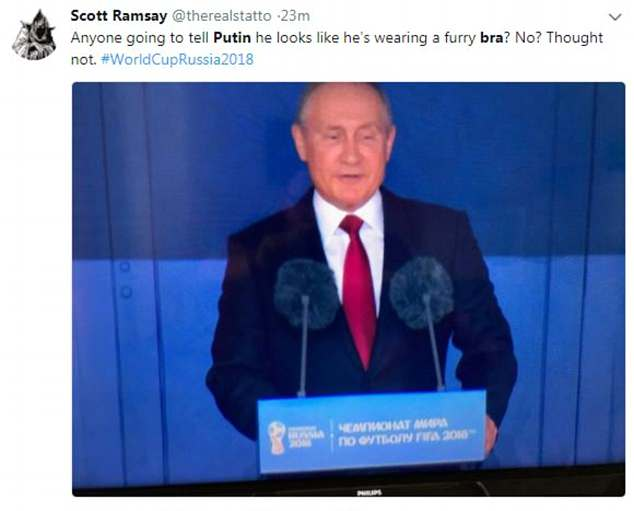 But his appearance led to viewers flocking to social media to joke that the awkward placement of the fluffy microphones made it seem like he was wearing a bra